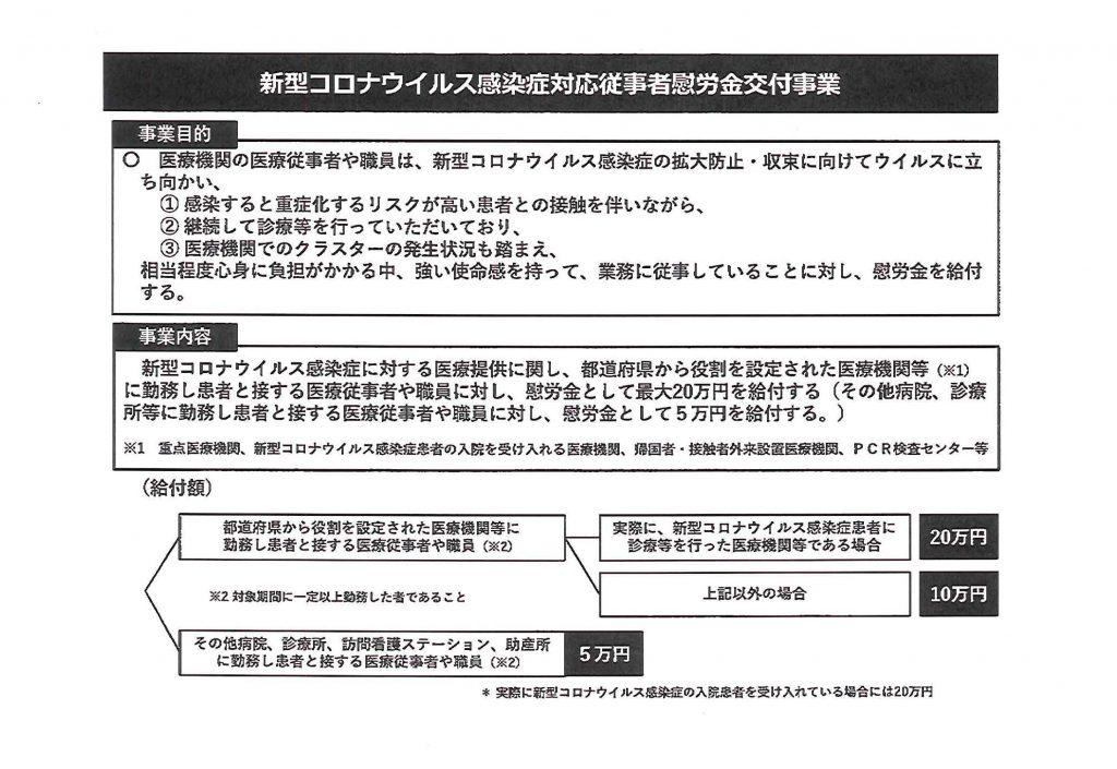 コロナ対応医療従事者慰労金交付について